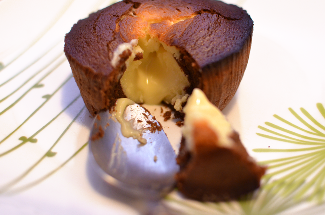 Moelleux au chocolat, coeur coulant chocolat blanc
