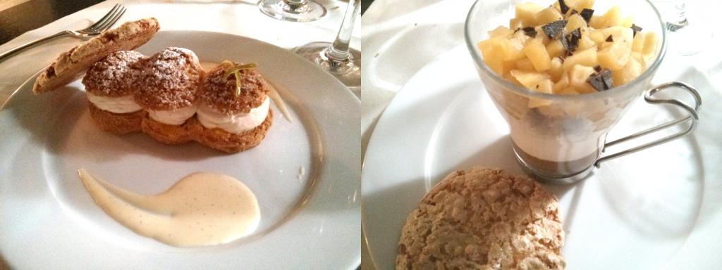 A gauche : Paris-Brest. A droite : verrine de crème de marron et pomme (un peu écoeurante)