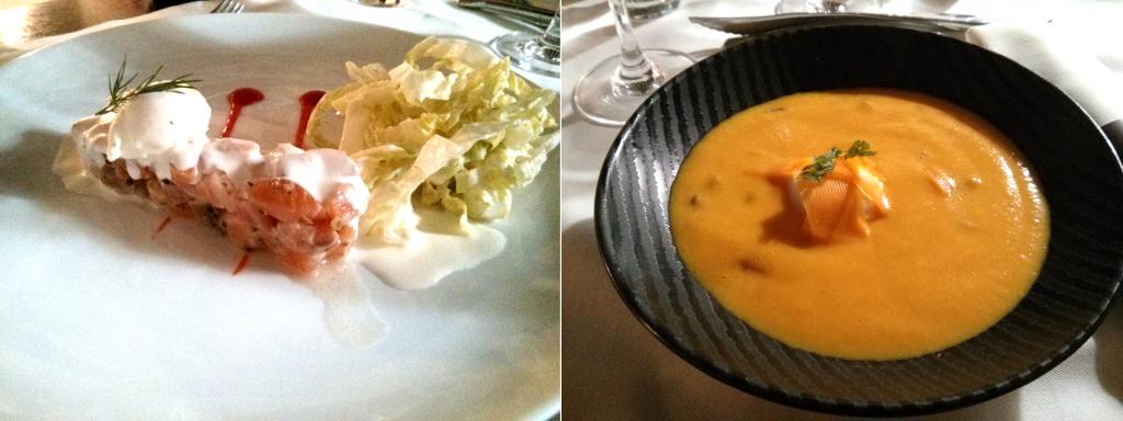 A gauche : Tartine de saumon mariné et fromage frais au citron vert. - A droite : Crème de potiron, œuf poché, châtaignes et mimolette