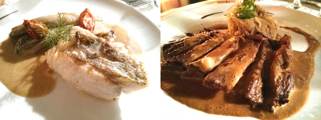 A gauche : Onglet de veau rôti, spaghettis de navets Daïkon confits.- A droite : Dos delieu jaune rôti, endives caramélisées et sauce orange passion