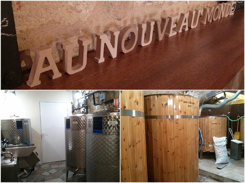 Cuves de brassage de bières dans la cave de la micro-brasserie Au Nouveau Monde