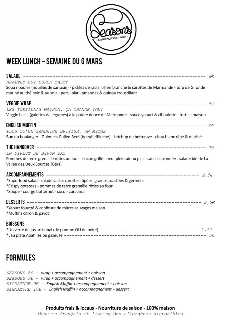 Menu de Mars 2017 du Seasons Food Truck à Bordeaux