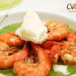 Crevettes au citron vert, glace au yaourt et coulis aux herbes - recette Picard par Crookies
