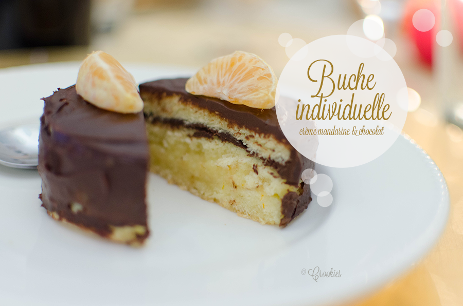 Buche individuelle au chocolat, crème mandarine. © Crookies