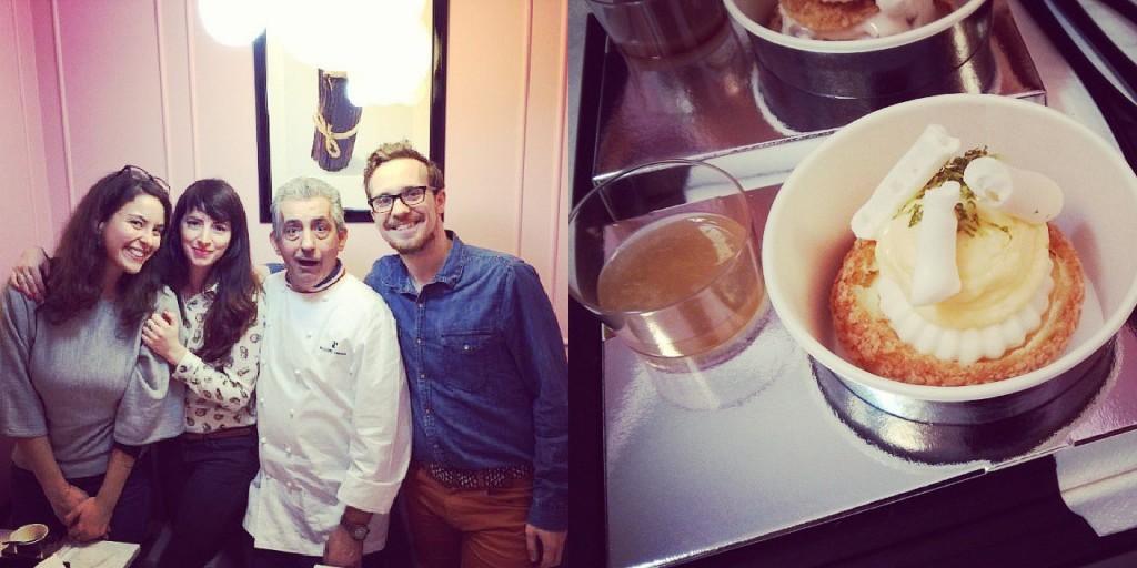 Le chef Philippe Urraca avec moi-même, et mon ami du blog La Robe et Le Fouet
