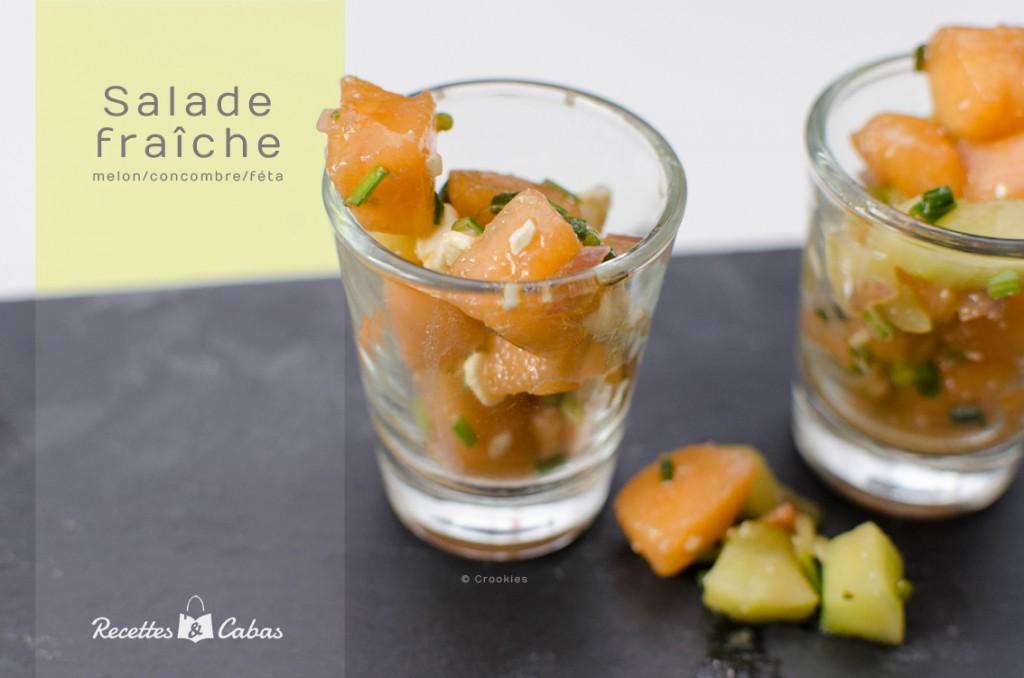 Salade melon, concombre, feta et ciboulette façon Recettes et Cabas - © Crookies