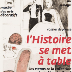 """Affiche de l'exposition """"l'histoire se met à table"""" aux Arts Décoratifs de Bordeaux"""