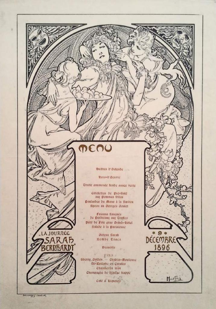 Menu dessiné par Mucha pour un repas servi au Grand Hôtel en 1896 - collection privée de Jean-Maurice Sacré